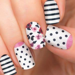 Nail Wraps Black White Stripes Polka Dots Floral